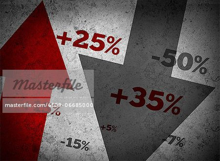 Market statistics on grey wall Stock Photo - Premium Royalty-Free, Image code: 6109-06685000
