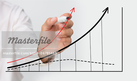 Businessman drawing graph Stock Photo - Premium Royalty-Free, Image code: 6109-06781469