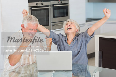 Excited senior couple using the laptop at the table Stock Photo - Premium Royalty-Free, Image code: 6109-07601411
