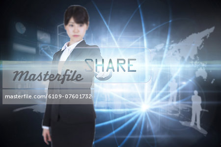 Share against shiny sphere on black background Stock Photo - Premium Royalty-Free, Image code: 6109-07601732