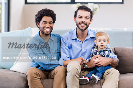 Happy gay couple with child Stock Photo - Premium Royalty-Free, Image code: 6109-08390108