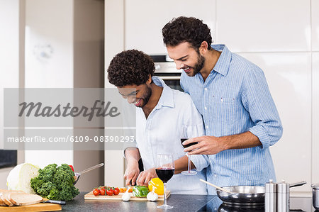 Happy gay couple drinking wine and slicing vegetables Stock Photo - Premium Royalty-Free, Image code: 6109-08390293