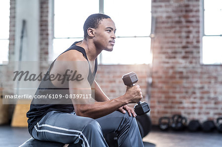Muscular man doing dumbbell exercises Stock Photo - Premium Royalty-Free, Image code: 6109-08397113