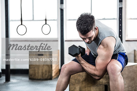 Fit man lifting heavy black dumbbell Stock Photo - Premium Royalty-Free, Image code: 6109-08397753