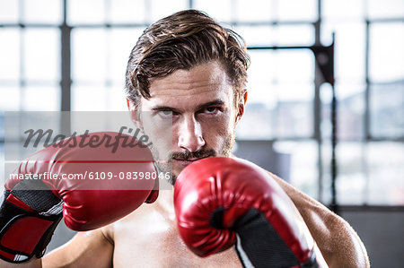 Fit shirtless man with boxing gloves Stock Photo - Premium Royalty-Free, Image code: 6109-08398046