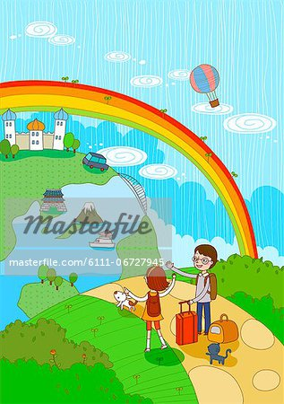 Couple With Luggage Travelling Stock Photo - Premium Royalty-Free, Image code: 6111-06727945