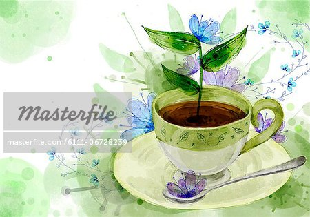 Coffee Cup And Spoon On Flora Background Stock Photo - Premium Royalty-Free, Image code: 6111-06728239
