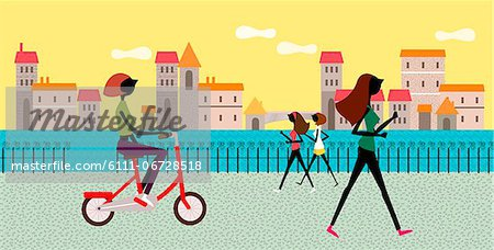 People Jogging And On Bicycle Stock Photo - Premium Royalty-Free, Image code: 6111-06728518