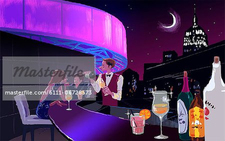 Illustration of people at the bar counter Stock Photo - Premium Royalty-Free, Image code: 6111-06728573