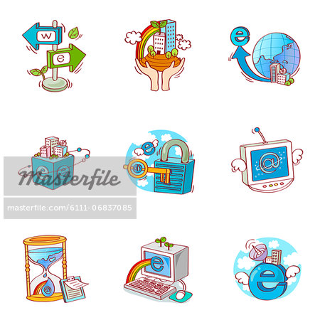 Set of various business related icons Stock Photo - Premium Royalty-Free, Image code: 6111-06837085