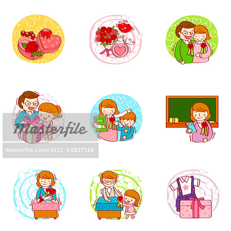 Set of various education related icons Stock Photo - Premium Royalty-Free, Image code: 6111-06837116