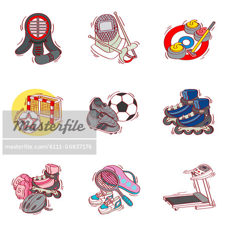 Set of various sport related icons Stock Photo - Premium Royalty-Free, Image code: 6111-06837176