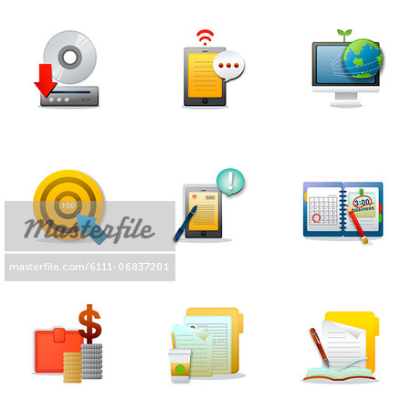 Set of various business related icons Stock Photo - Premium Royalty-Free, Image code: 6111-06837201