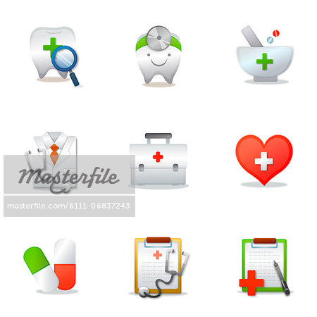 Set of various medical related icons Stock Photo - Premium Royalty-Free, Image code: 6111-06837243