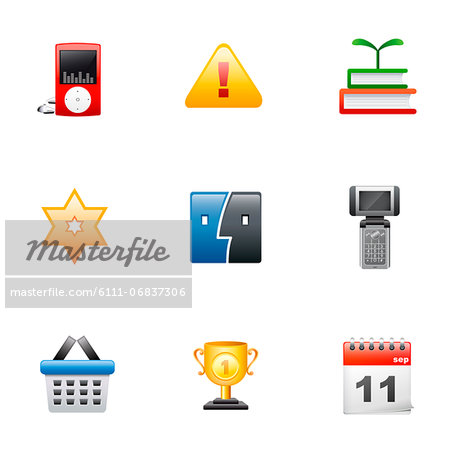 Set of various icons Stock Photo - Premium Royalty-Free, Image code: 6111-06837306