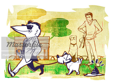 Bird faced man walking with dog urinating Stock Photo - Premium Royalty-Free, Image code: 6111-06837433