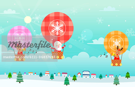 Santa Claus and reindeer sitting in hot air balloon Stock Photo - Premium Royalty-Free, Image code: 6111-06837693