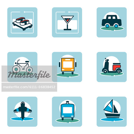Set of various food and travel related icons Stock Photo - Premium Royalty-Free, Image code: 6111-06838452
