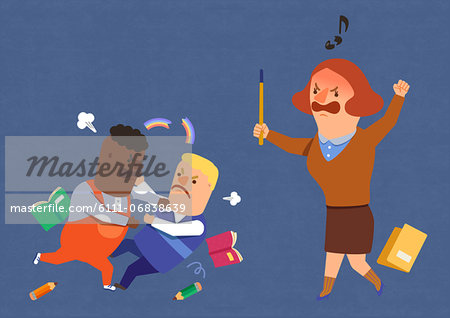 Teacher shouting at students fighting Stock Photo - Premium Royalty-Free, Image code: 6111-06838639