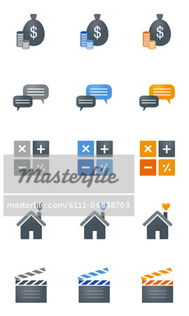 Set of various icons Stock Photo - Premium Royalty-Free, Image code: 6111-06838703