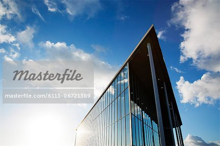 Blue sky reflected in modern building