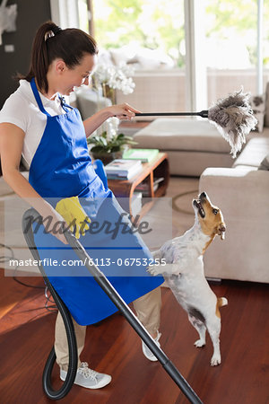 Maid playing with dog in living room Stock Photo - Premium Royalty-Free, Image code: 6113-06753255