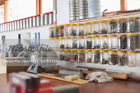 Jars and counter top in workshop Stock Photo - Premium Royalty-Free, Image code: 6113-06753335