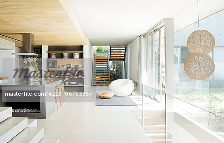 Open floor plan of modern house Stock Photo - Premium Royalty-Free, Image code: 6113-06753957