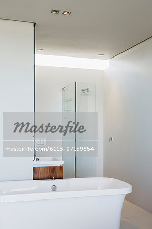 Bathtub, shower and sink in modern bathroom Stock Photo - Premium Royalty-Free, Image code: 6113-07159854