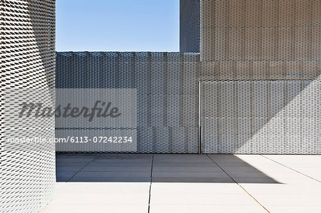 Sunlight and shadows on walls of modern building