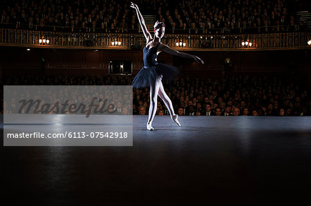 Ballet dancer performing on stage in theater Stock Photo - Premium Royalty-Free, Image code: 6113-07542918