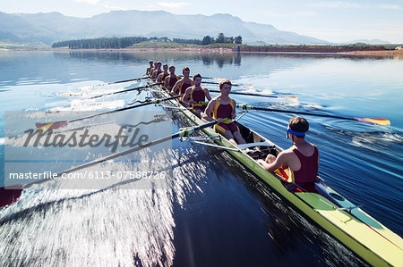 Rowing team rowing scull on lake Stock Photo - Premium Royalty-Free, Image code: 6113-07588726