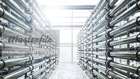 Irrigation pipes in greenhouse Stock Photo - Premium Royalty-Free, Image code: 6113-07589186