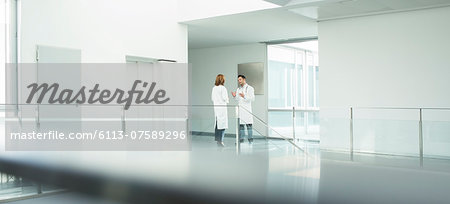 Doctors talking in hospital corridor Stock Photo - Premium Royalty-Free, Image code: 6113-07589296
