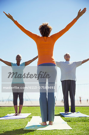 Seniors practicing yoga in sunny park Stock Photo - Premium Royalty-Free, Image code: 6113-07589491