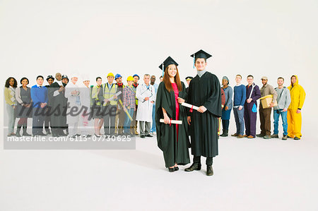Portrait of confident graduates Stock Photo - Premium Royalty-Free, Image code: 6113-07730625
