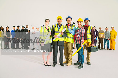 Portrait of confident construction workers Stock Photo - Premium Royalty-Free, Image code: 6113-07730727