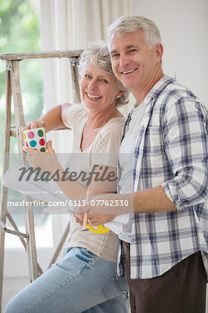 Older couple looking through documents together