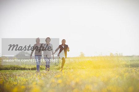 Multi-generation women walking in sunny meadow