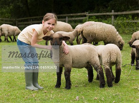A girl with lambs Stock Photo - Premium Royalty-Free, Image code: 6114-06591672