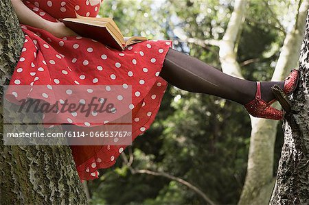 Woman reading a book in a tree Stock Photo - Premium Royalty-Free, Image code: 6114-06653767