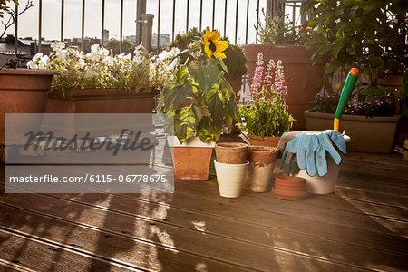 Flower Pots And Garden Tools On Balcony, Munich, Bavaria, Germany, Europe Stock Photo - Premium Royalty-Free, Image code: 6115-06778675