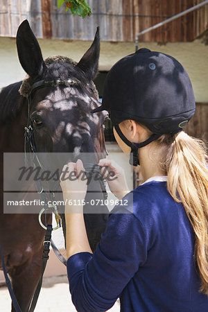Woman and Horse, Baden Wuerttemberg, Germany, Europe Stock Photo - Premium Royalty-Free, Image code: 6115-07109612