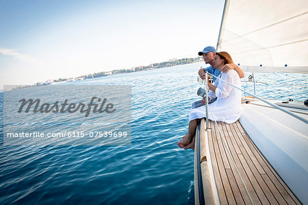 Mature couple on sailboat, relaxing, Adriatic Sea, Croatia Stock Photo - Premium Royalty-Free, Image code: 6115-07539699