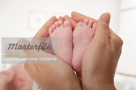 Close-up of mother holding her baby's feet Stock Photo - Premium Royalty-Free, Image code: 6116-07236020