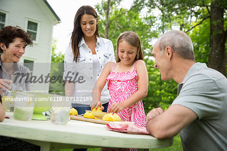 A Summer Family Gathering At A Farm. A Girl Slicing And Juicing Lemons To Make Lemonade. Stock Photo - Premium Royalty-Free, Image code: 6118-07122159