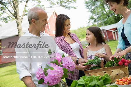 Family Party. A Table Laid With Salads And Fresh Fruits And Vegetables. Parents And Children. Stock Photo - Premium Royalty-Free, Image code: 6118-07122188
