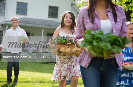 Family Party. Parents And Children Walking Across The Lawn Carrying Flowers, Fresh Picked Vegetables And Fruits. Preparing For A Party. Stock Photo - Premium Royalty-Free, Image code: 6118-07122203