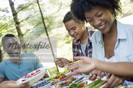 A family picnic meal in the shade of tall trees. Parents and children helping themselves to fresh fruits and vegetables.