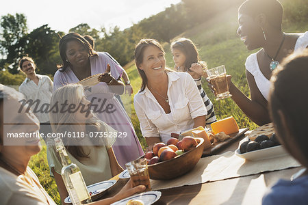 A family and friends having a meal outdoors.  A picnic or buffet in the early evening. Stock Photo - Premium Royalty-Free, Image code: 6118-07352829